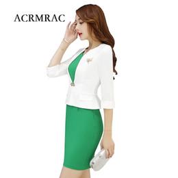 Wholesale Formal Attire - ACRMRAC Women Formal wear Suit Half sleeves Slim Workwear OL Formal Dress Suits business attire