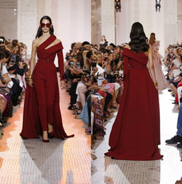 elie saab prom dresses new Promo Codes - Elie Saab Evening Dresses One Shoulder Long Sleeve Women Jumpsuit With Long Train burgundy stain Prom Dress Party 2019 New Style