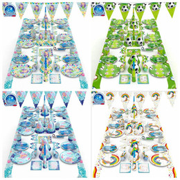 Wholesale tablecloth setting - 4 Styles Soccer Mermaid Tableware Set Birthday Party Decoration Kids Napkin Cups Tablecloth Flag Straw Plate Party Supplies CCA10016 10set