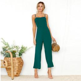 Combinaisons dames pour les femmes 2018 Spaghei Strap Backless Longue Été Combinaison Élégante Black Green Wrap Romper Combinaisons Femme ? partir de fabricateur