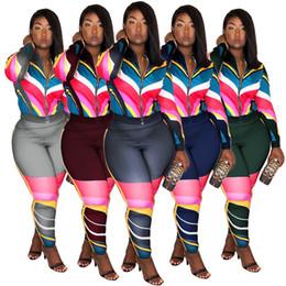 2019 полосатые женские куртки женщины осень зима куртка 2 шт. набор леггинсы брюки спортивный костюм колготки с длинным рукавом толстовка костюмы полосатый леди одежда спортивная продажа дешево полосатые женские куртки