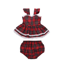 outfit grid Promo Codes - Toddler Kids Baby Girls Grid Outfits Off Shoulder Lace Plaid T-shirt Tops +Shorts 2Pcs Clothing Set