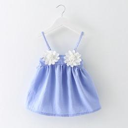 2019 vestito europeo femminile Gonna da spiaggia per bambina in stile europeo e americano, piccola ragazza, con cinturino, abito di moda, vestiti V 01 vestito europeo femminile economici