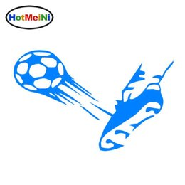 Fußballschuhball online-Großhandelsauto 10pcs, der Ball-Tritt-Schuh-Fußball-Sport-Auto-Aufkleber kleidet