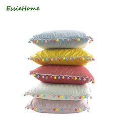 Wholesale Lovely Pink Cushions - wholesale Cushion Cover Pillow Case Pink Cute Soft Velvet Pom Pom Trim Tassel Lovely Children's Room Decoration