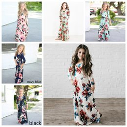 Wholesale England Clothing Styles - 6 Styles Girls Long Sleeve Floral Print M Dress Holiday Party Weddding Princess Girl's Dress Kids Clothing AAA296