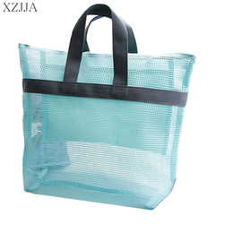 Wholesale toy carry case - XZJJA Mesh Travel Storage Bag Women Swim Handbag Cosmetic Pouch Summer Beach Bag Portable Carrying Beach Ball Toys Clothes Case
