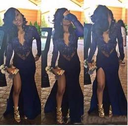 mädchen hohen schlitz kleider Rabatt African Sexy Black Girl Long Sleeve Brautkleider Tiefer V-Ausschnitt Mermaid Party Kleider Perlen High Slit Sheer Navy Blue Lange Abendkleider