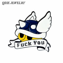 QIHE JEWELRY Blue Shell Mario Kart Enamel Pin Lapel Pin Brooches Badge  Mario Game Jewelry Funny Cute Pins Accessories