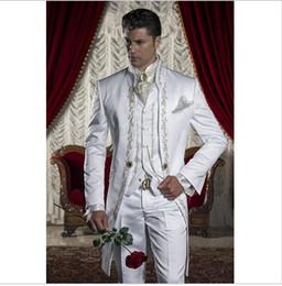 Novo Design Longo Bordar Branco Ternos Dos Homens Do Casamento Smoking Homens Groomsmen Festa Ternos (Jacket + Pants + Tie + Vest) NÃO; 236 de