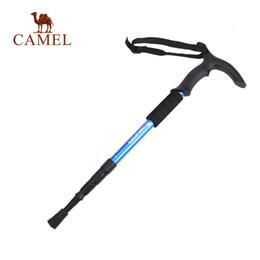 pé de borracha Desconto Camel T-handle Walking Stick Hiking Trekking Stick Ultra-light 4-section Adjustable Cane Aluminum Alloy Climbing Pole