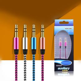 Mini hdmi telefon online-Aux braide Auxiliary-Audiokabel 3,5 mm Stecker / Stecker Stereo-Audiokabel 1m 3FT-Kabel für Samsung LG HTC Handy