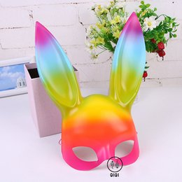 Wholesale Cute Women Halloween Costumes - Women Girl's Fashion Party Mask Rabbit Ears Mask for 2018 Easter Cosplay Costume Cute Funny Halloween Mask Decoration