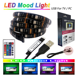 Wholesale Usb Rgb Led - 5V USB cable LED Mood light for TV PC monitor 6.6ft 60LEDs 5050 RGB LED Strip light Kit+24key Mini IR Remote Controller