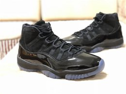 Wholesale Mens Gowns - 2018 Authentic Cap and Gown 11 Prom Night Blackout Real Carbon Fiber Mens Basketball Shoes All Black 378037-005 Sneakers With Box