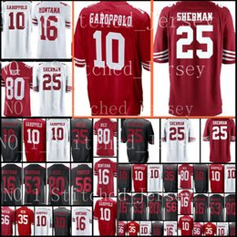 Wholesale football jersey 16 - San Francisco 10 Jimmy Garoppolo 25 Richard Sherman 49er jersey Men's 16 Joe Montana 53 NaVorro Bowman 56 Reuben Foster Jerseys