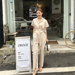 84f1db8db767 Pengpious fashion new office lady cotton linen jumpsuits v-neck short  sleeves slim waist long women overall with pockets