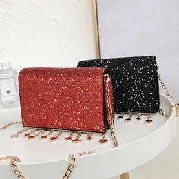 d24eacc87afe7 Pailletten Shiny Elegant Luxus Abendgesellschaft Clutch Female Quaste  Ketten Damen Tasche Schwarz Damen Tasche 2018 Fashion Red Damen