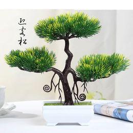 2019 albero di fiori di bonsai Commercio all'ingrosso nuove piante artificiali albero fiore bonsai plastica saluto pino pentola piante grasse per ufficio casa decorazione del giardino albero di fiori di bonsai economici