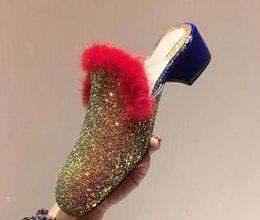 2018ss Fashion Real Pictures otoño primavera señoras de oro rosa brillante Glitter deslizamiento en la piel mula del ajuste del bajo talón holgazanes zapatillas zapatos de marca de lujo desde fabricantes