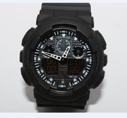 Wholesale Dual Time Zone - dual display sports watch ga100 G Black Display LED Fashion army military shocking watches men Casual Watches
