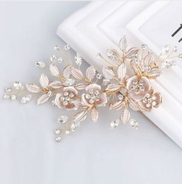 Argentina Precioso hechos a mano de oro cristales austriacos Rhinestones hoja de la flor pinza de pelo de la boda Barrettes nupcial tocado accesorios para el cabello Suministro