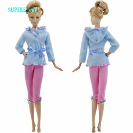Wholesale Wool Leggings Girls - High Quality Pajama Outfit Sweet Blue Laciness Blouse Belt Coat + Trousers Bowknot Leggings Clothes For Barbie Doll Accessories