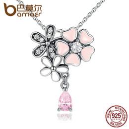 2019 kirschblüten halskette BAMOER 925 Sterling Silber Pink Heart Blossom Cherry Flower 45CM Anhänger Halsketten Damen Sterling-Silver-Jewelry SCN046 rabatt kirschblüten halskette