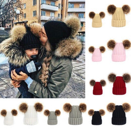 Wholesale Newborn Red Cap - 2018 New Arrival Mom and Newborn Baby Boy Girls Winter Warm Double Fur Pom Bobble Knitted Beanie Hat Cap