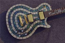 Envío gratis Fabricante directo de la venta Custom Shop abulón incrustado Guitarra eléctrica con dragón Decoración para el cuello Personalizado disponible desde fabricantes