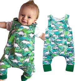 Wholesale dinosaur pajamas - Hot Summer Baby Boy Romper Infant Toddlers Sleeveless Green Dinosaur Bodysuit Playsuit Pants Newborn Pajamas B11
