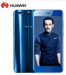 Wholesale Huawei Thai - Original Huawei Honor 9 Mobile Phone 4G LTE 5.15' Kirin 960 Octa Core 4 6GB RAM 64 128GB ROM Dual Rear 1920*1080P Fingerprint NFC