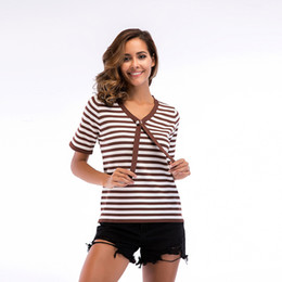 Wholesale Knit Striped Shirt - Summer Womens T-shirt Baggy Striped Knitted With New Tie Short Sleeved Blouse Woman Tee