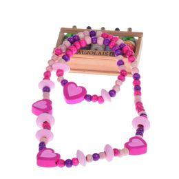 Комплект ювелирных изделий детей комплект онлайн-free shipping 2015 new children jewelry sets for girls Wooden Cute love Heart  Necklace Bracelet Jewelry Set Baby gift
