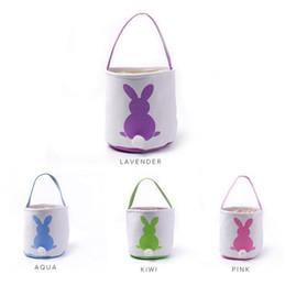 Wholesale Rabbit Colors - Easter Rabbit Basket Easter Bunny Bags Rabbit Printed Canvas Tote Bag Egg Candies Baskets 4 Colors 50pcs OOA3960