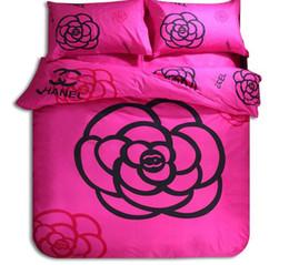 ägyptische baumwollbettwäsche setzt lila Rabatt Großhandel-Heimtextilien Bettbezug Kissenbezug setzt warme Luxus-Kamelie Original-Mode-Marke Klassiker Einfache Baumwolle Set für 6 Fuß Bett