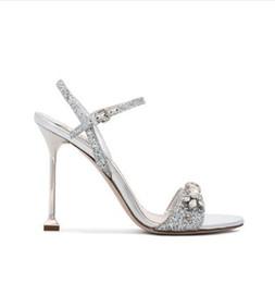 Vestido clubwear abierto online-Dedos abiertos femeninos sandalias de tacón alto 2018 Summer Crystal Women Pumps Sandalias de tacón alto elegante estilete fiesta de noche Clubwear zapatos de vestir