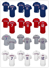 Wholesale army rangers - custom Men's women youth Majestic Texas Jersey #7 Ivan Rodriguez 11 Yu Darvish 12 Rougned Odor Blue Grey White Kids Ranger Baseball Jerseys