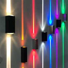 современная лампа для наружной установки Скидка Узкие огни открытый водонепроницаемый настенный светильник крыльцо сад огни вверх и вниз 6 Вт прожекторы декоративное освещение бра современные настенные светильники