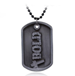 Wholesale God Hearts - DHL Christian God Necklace Joshua Be Strong And Courageous Bible Verse Scripture Bold Dog Tag Pendant Necklace