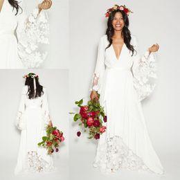 Wholesale Designer Shirts Images - Wedding Dresses Bohemian Country 2018 Long Sleeves Deep V Neck Zipper Back Floor Length Summer Boho Western Vintage Bridal Gowns