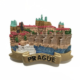 Wholesale Tourist Souvenir Gift - New Arrival Prague, Czech Fridge Magnet 3D Handmade Resin Tourist Souvenirs Refrigerator Magnetic Sticker Gift Home Decor