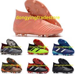 f41e5f02928e New Mens High Ankle Football Boots Predator 18 FG Laceless Soccer Cleats  Socks Top Outdoor Predator 18.1 Soccer Shoes Without Shoelace