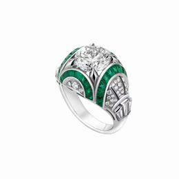 Canada Emeraude de luxe diamant bagues Festa bague en argent Sterling femmes bagues de noces Luxe charme bijoux supplier emerald diamond jewelry Offre