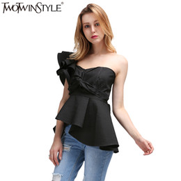 Wholesale Tunic Tops Ruffles - TWOTWINSTYLE 2017 Summer Bra Bralette Women Tops Tank Vest Ruffles Off Shoulder T Shirts Female Sleeveless Lace up Tunic Blouse