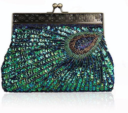 Wholesale Cell Phone Wedding - Handmade Sequined Beading Peacock Clutch Evening Party Bag wedding Bridal Party Prom Handbag Chinese Traditional Clutch Free Shipping