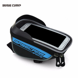 Wholesale red mountain bike handlebars - Bicycle bike Front top Frame Handlebar Bag Pannier Waterproof Mountain Road pack GPS Touch Screen Case For 5.5