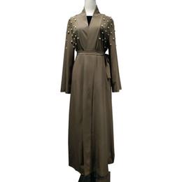 Mujeres islámicas kaftan online-Mujeres ropa mano perla abalorios diseños de parche cardigan musulmán vestido maxi islámico abaya oriente medio kaftan túnica turca kimono
