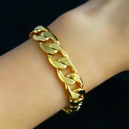 2019 armband solide gelb 12 MM Breite Klassische Kubanische Gliederkette Armband Männer Frauen Gelbes Gold Füllte Solide Kette 22 cm Länge rabatt armband solide gelb