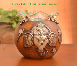 Fumo di incenso aroma online-Boutique Yoga Essence Oil Aroma Burner The Indian Elephant God Aroma Stufa Smokes Incense Burner Candela di incenso all'olio essenziale